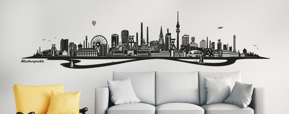 wandtattoo skyline. Black Bedroom Furniture Sets. Home Design Ideas