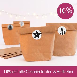 10% Rabatt auf Geschenktüten und Aufkleber