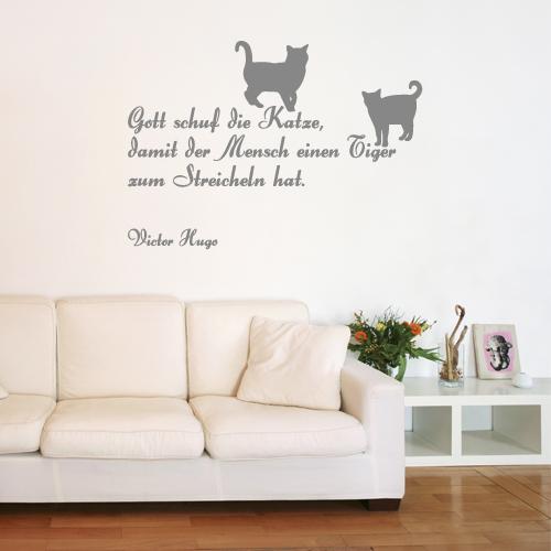 Wandtattoo-Zitat - Gott schuf die Katze